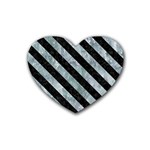 STRIPES3 BLACK MARBLE & ICE CRYSTALS Heart Coaster (4 pack)