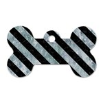 STRIPES3 BLACK MARBLE & ICE CRYSTALS Dog Tag Bone (Two Sides)