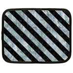 STRIPES3 BLACK MARBLE & ICE CRYSTALS Netbook Case (Large)