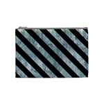 STRIPES3 BLACK MARBLE & ICE CRYSTALS Cosmetic Bag (Medium)