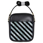 STRIPES3 BLACK MARBLE & ICE CRYSTALS Girls Sling Bags