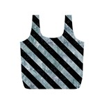 STRIPES3 BLACK MARBLE & ICE CRYSTALS Full Print Recycle Bags (S)