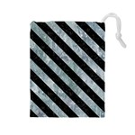 STRIPES3 BLACK MARBLE & ICE CRYSTALS Drawstring Pouches (Large)
