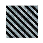 STRIPES3 BLACK MARBLE & ICE CRYSTALS Small Satin Scarf (Square)