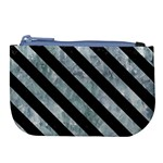 STRIPES3 BLACK MARBLE & ICE CRYSTALS Large Coin Purse