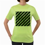 STRIPES3 BLACK MARBLE & ICE CRYSTALS (R) Women s Green T-Shirt