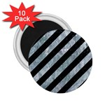STRIPES3 BLACK MARBLE & ICE CRYSTALS (R) 2.25  Magnets (10 pack)