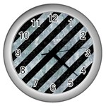 STRIPES3 BLACK MARBLE & ICE CRYSTALS (R) Wall Clocks (Silver)
