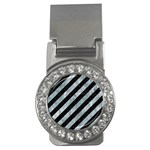 STRIPES3 BLACK MARBLE & ICE CRYSTALS (R) Money Clips (CZ)