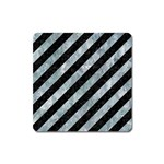 STRIPES3 BLACK MARBLE & ICE CRYSTALS (R) Square Magnet
