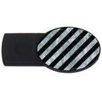 STRIPES3 BLACK MARBLE & ICE CRYSTALS (R) USB Flash Drive Oval (2 GB)