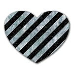 STRIPES3 BLACK MARBLE & ICE CRYSTALS (R) Heart Mousepads