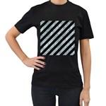 STRIPES3 BLACK MARBLE & ICE CRYSTALS (R) Women s T-Shirt (Black)