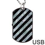 STRIPES3 BLACK MARBLE & ICE CRYSTALS (R) Dog Tag USB Flash (Two Sides)