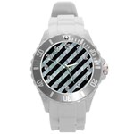 STRIPES3 BLACK MARBLE & ICE CRYSTALS (R) Round Plastic Sport Watch (L)