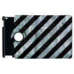 STRIPES3 BLACK MARBLE & ICE CRYSTALS (R) Apple iPad 3/4 Flip 360 Case