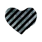 STRIPES3 BLACK MARBLE & ICE CRYSTALS (R) Standard 16  Premium Heart Shape Cushions