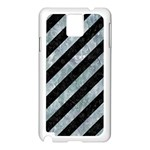 STRIPES3 BLACK MARBLE & ICE CRYSTALS (R) Samsung Galaxy Note 3 N9005 Case (White)