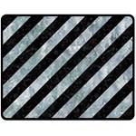 STRIPES3 BLACK MARBLE & ICE CRYSTALS (R) Double Sided Fleece Blanket (Medium)