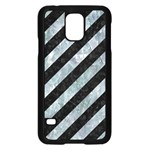 STRIPES3 BLACK MARBLE & ICE CRYSTALS (R) Samsung Galaxy S5 Case (Black)
