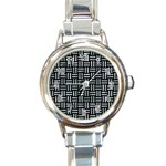 WOVEN1 BLACK MARBLE & ICE CRYSTALS (R) Round Italian Charm Watch