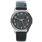 WOVEN1 BLACK MARBLE & ICE CRYSTALS (R) Round Metal Watch