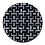 WOVEN1 BLACK MARBLE & ICE CRYSTALS (R) Round Mousepads