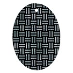 WOVEN1 BLACK MARBLE & ICE CRYSTALS (R) Ornament (Oval)