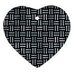 WOVEN1 BLACK MARBLE & ICE CRYSTALS (R) Ornament (Heart)