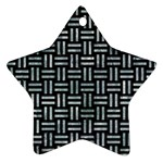 WOVEN1 BLACK MARBLE & ICE CRYSTALS (R) Ornament (Star)