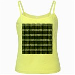 WOVEN1 BLACK MARBLE & ICE CRYSTALS (R) Yellow Spaghetti Tank