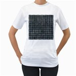WOVEN1 BLACK MARBLE & ICE CRYSTALS (R) Women s T-Shirt (White) (Two Sided)