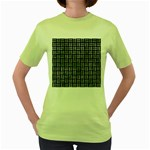 WOVEN1 BLACK MARBLE & ICE CRYSTALS (R) Women s Green T-Shirt