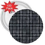 WOVEN1 BLACK MARBLE & ICE CRYSTALS (R) 3  Buttons (100 pack)