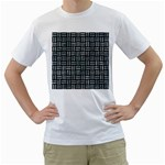 WOVEN1 BLACK MARBLE & ICE CRYSTALS (R) Men s T-Shirt (White) (Two Sided)