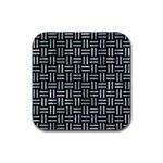 WOVEN1 BLACK MARBLE & ICE CRYSTALS (R) Rubber Square Coaster (4 pack)