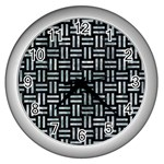 WOVEN1 BLACK MARBLE & ICE CRYSTALS (R) Wall Clocks (Silver)