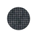 WOVEN1 BLACK MARBLE & ICE CRYSTALS (R) Rubber Coaster (Round)