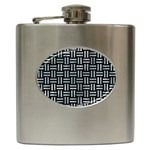 WOVEN1 BLACK MARBLE & ICE CRYSTALS (R) Hip Flask (6 oz)