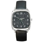 WOVEN1 BLACK MARBLE & ICE CRYSTALS (R) Square Metal Watch