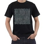 WOVEN1 BLACK MARBLE & ICE CRYSTALS (R) Men s T-Shirt (Black) (Two Sided)