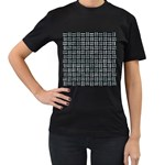 WOVEN1 BLACK MARBLE & ICE CRYSTALS (R) Women s T-Shirt (Black) (Two Sided)
