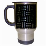 WOVEN1 BLACK MARBLE & ICE CRYSTALS (R) Travel Mug (Silver Gray)