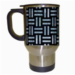 WOVEN1 BLACK MARBLE & ICE CRYSTALS (R) Travel Mugs (White)