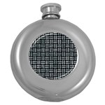 WOVEN1 BLACK MARBLE & ICE CRYSTALS (R) Round Hip Flask (5 oz)