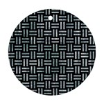 WOVEN1 BLACK MARBLE & ICE CRYSTALS (R) Round Ornament (Two Sides)