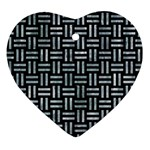WOVEN1 BLACK MARBLE & ICE CRYSTALS (R) Heart Ornament (Two Sides)