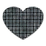 WOVEN1 BLACK MARBLE & ICE CRYSTALS (R) Heart Mousepads