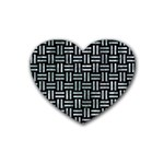 WOVEN1 BLACK MARBLE & ICE CRYSTALS (R) Rubber Coaster (Heart)