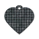 WOVEN1 BLACK MARBLE & ICE CRYSTALS (R) Dog Tag Heart (One Side)
